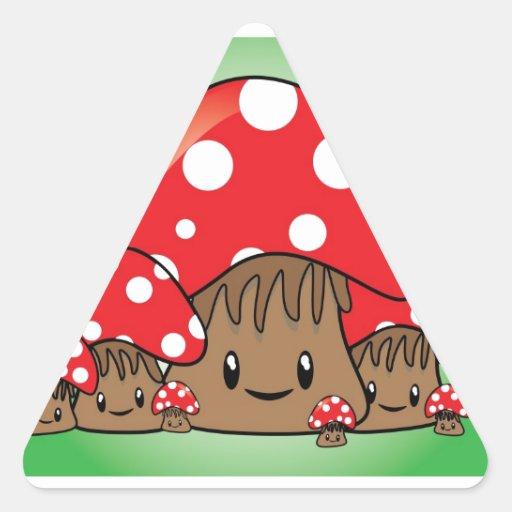 Cute Mushrooms on green background Triangle Sticker