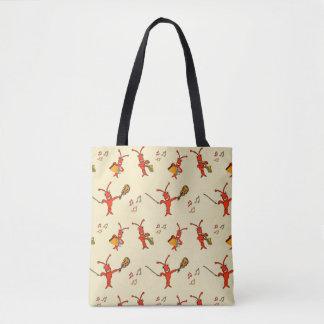 Cute Musical Crawfish Lobster Tote Bag
