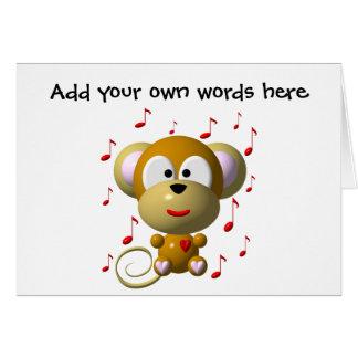 Cute musical monkey card