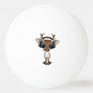 Cute Musical Reindeer Dj Wearing Headphones Ping Pong Ball
