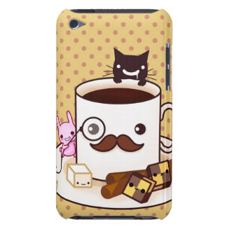 Cute mustache coffee cup with kawaii animals barely there iPod cases