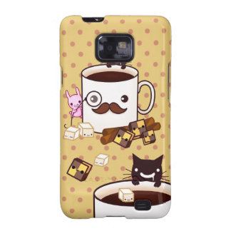 Cute mustache cup with kawaii animals and biscuits galaxy SII case