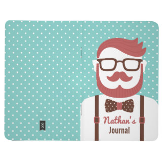 Cute Mustache Gentleman Polka Dots Journal
