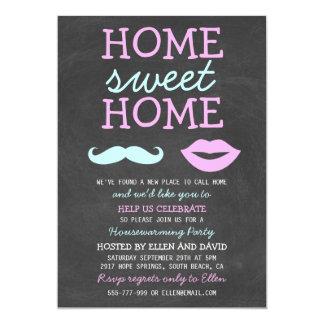 Cute Mustache & Lips Home Sweet Home Invitations