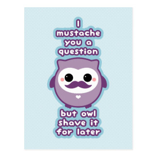 Cute Mustache Owl Postcard