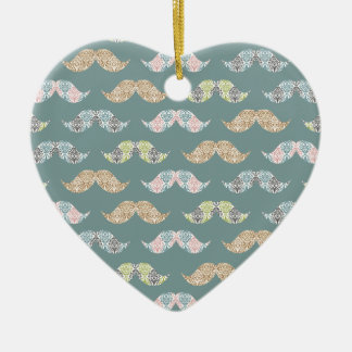 Cute Mustache Pattern with Damask Overlays Ceramic Heart Ornament