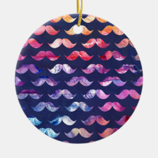 Cute Mustache Pattern with Watercolor Overlays Round Ceramic Ornament