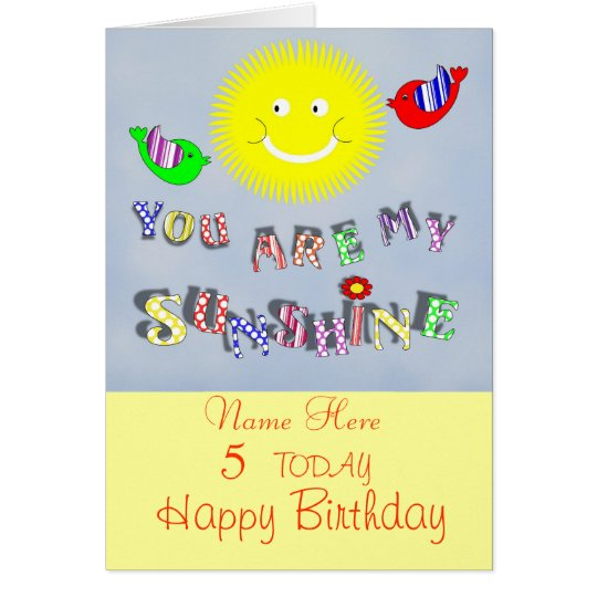 Cute My Sunshine Personalised Birthday Card