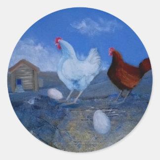 Cute Mystic Chickens Original Modern Art Custom St Classic Round Sticker