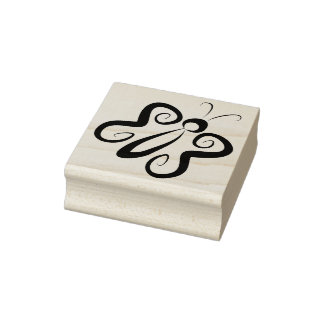 Cute 'n Curly Butterfly Rubber Stamp