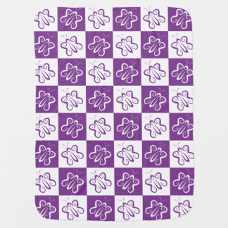 Cute 'n Curly White and Purple Butterflies Baby Blanket