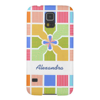 Cute Name Geometric Rainbow Squares Quatrefoil Galaxy S5 Cover