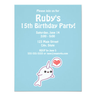 Cute Narwhal Birthday Party Invitaions Card
