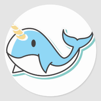 Cute Narwhal Classic Round Sticker