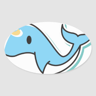 Cute Narwhal Oval Sticker