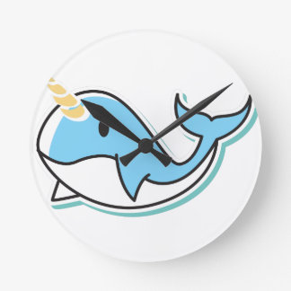 Cute Narwhal Round Clock