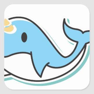 Cute Narwhal Square Sticker