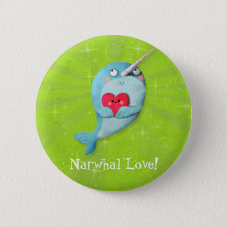 Cute Narwhal with Heart 2 Inch Round Button