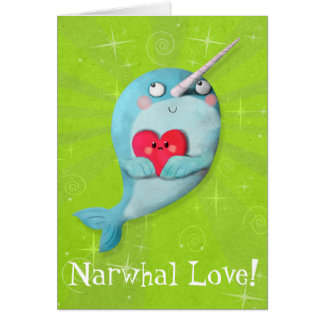 Cute Narwhal with Heart Card