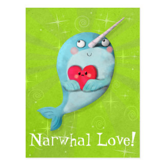 Cute Narwhal with Heart Postcard