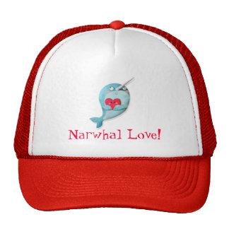 Cute Narwhal with Heart Trucker Hat