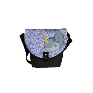 Cute Narwhal with other sea critters pattern Courier Bag