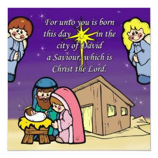 """Cute Nativity Scene Invitation Card 5.25"""" Square Invitation Card"""
