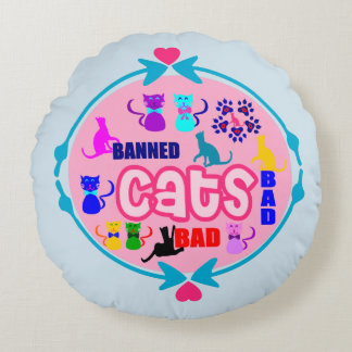 😻🐾↷❤Cute Naughty Cat Family Soft & Wrinkle-Free Round Pillow