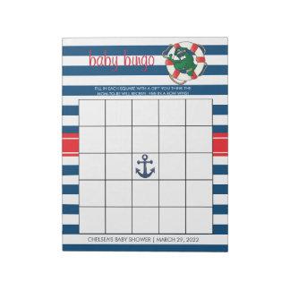 Cute Nautical Alligator Baby Shower Bingo Game Notepad