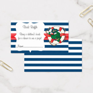 Cute Nautical Alligator Baby Shower Book Raffle Business Card