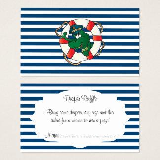 Cute Nautical Alligator Baby Shower Diaper Raffle Business Card
