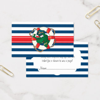 Cute Nautical Alligator Baby Shower Diaper Raffle Business Card