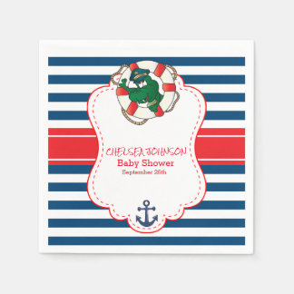 Cute Nautical Alligator Baby Shower Paper Napkin