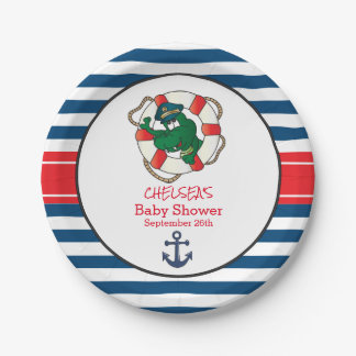 Cute Nautical Alligator Baby Shower Paper Plate