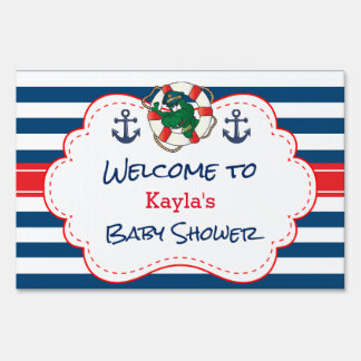 Cute Nautical Alligator Baby Shower Sign