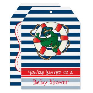 Cute Nautical Alligator Baby Shower Theme Card