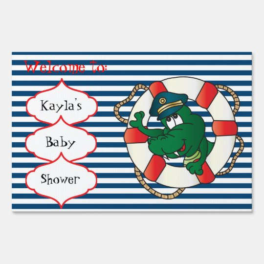 Cute Nautical Alligator Baby Shower Theme Sign