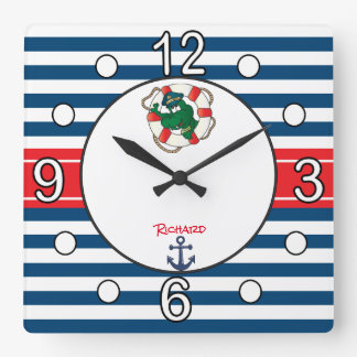 Cute Nautical Alligator Nursery Theme Square Wall Clock