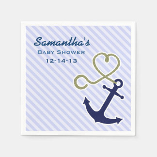 Cute Nautical Anchor Boy Baby Shower Custom Paper Napkins