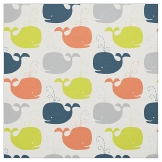 Cute Nautical Baby Nursery Whales Fabric