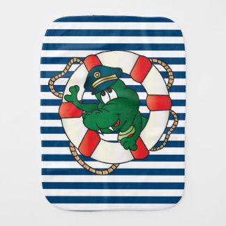 Cute Nautical Cartoon Alligator Baby Burp Cloths