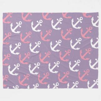 Cute Nautical Pink Purple Anchors Pattern Fleece Blanket