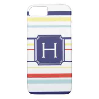 Cute nautical preppy stripes pattern monogram iPhone 8/7 case