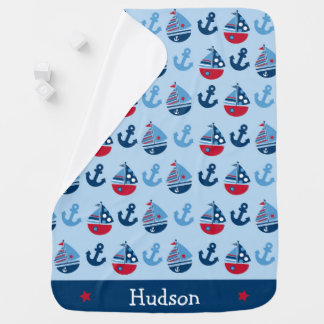 Cute Nautical Sailboat Baby Blanket