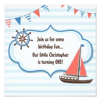 Cute Nautical Sailboat Boys 1st Birthday Invite
