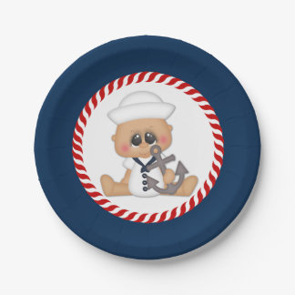 Cute Nautical Sailor Baby Boy Paper Plate