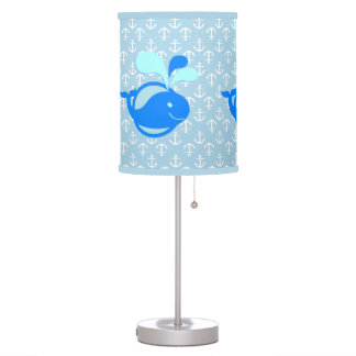 Cute Nautical Theme Blue Whale on Anchor Pattern Table Lamp