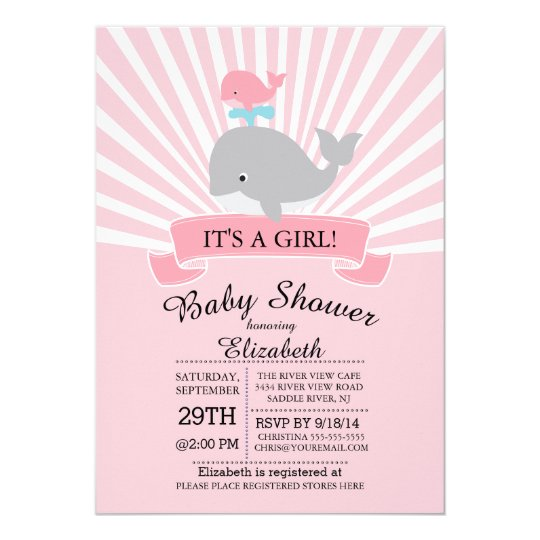 Cute Nautical Whale Girl Baby Shower Invitation