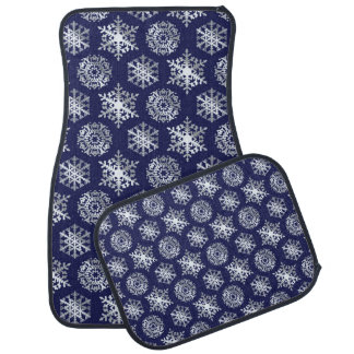 Cute Navy Blue and White Snowflakes Car Mats