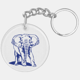 Cute Navy Blue Elephant Line Drawing Keychain